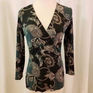 Ann taylor S surplice top fitted stretch dressy